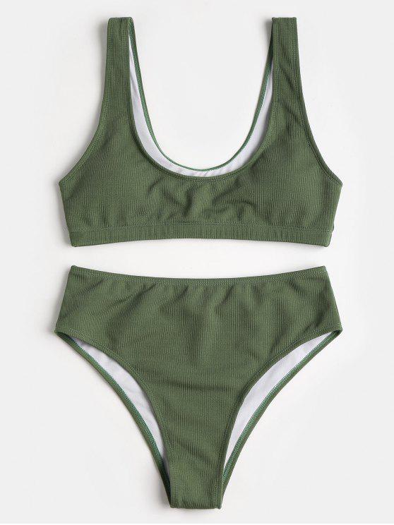 Conjunto de Bikini de talle alto acolchado con cuello redondo - Verde del ejército L
