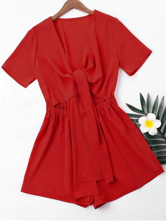 new Short Sleeve High Waist Romper - LOVE RED M
