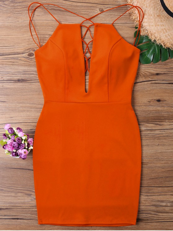 Backless Low Cut Strappy Dress - Laranja Escuro M