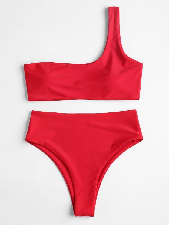 Bikini de Cintuta Alta con Un Hombro - Rojo S