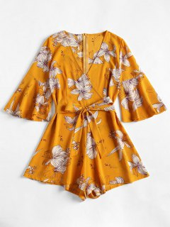 Bell Sleeve Surplice Floral Cute Romper - Bee Yellow S