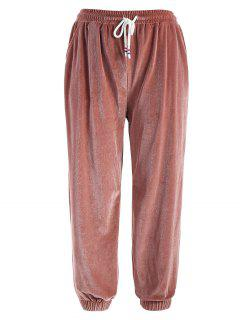 Side Striped Velvet Jogger Pants - Pink Bow