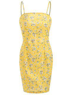 Bow Tie Mini Floral Dress With Darts - Corn Yellow L