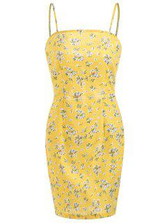 Bow Tie Mini Floral Dress With Darts - Corn Yellow M