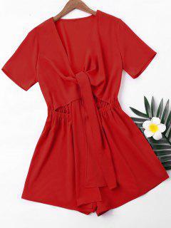 Short Sleeve High Waist Romper - Love Red L