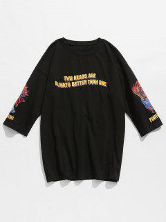 Camiseta De Algodón Bordada De Pescado Con Letras - Negro M
