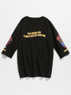 Letter Fish Embroidered Cotton Tee - Black S