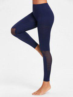 Sculpt Perforated Sports Leggings - Navy Blue M