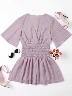 Smocked Surplice Mini Dress - Nude Pink L