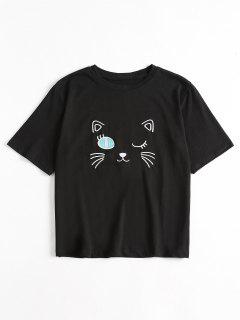 Embroidered Cute T Shirt - Black