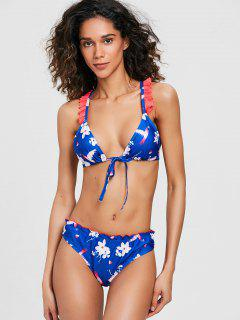 Blumen Rüschen Racerback Bikini Set - Königlich Blau S