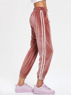 Side Striped Drawstring Velvet Jogger Pants - Pink Bow
