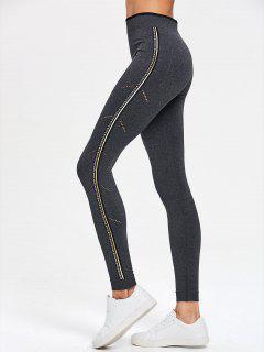 Side Graphic Eyelet Sports Leggings - Gray S