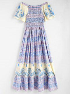Smocked Ruffles Off Shoulder Maxi Dress - Multi L