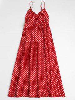 Polka Dot Wrap Midi Dress - Red L