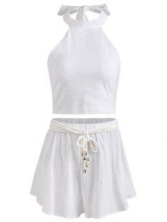 Halter Backless Crop Top And Shorts Set - White Xl