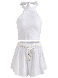Neckholder Rückenfreies Crop Top Und Shorts Set - Weiß S