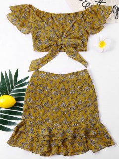 Off Shoulder Flounce Skirt Two Piece Set - Yellow L