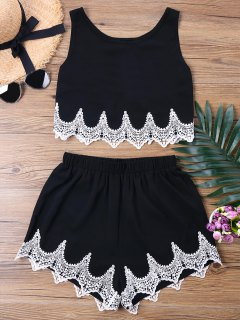 Crochet Panel Shorts Two Piece Set - Black L