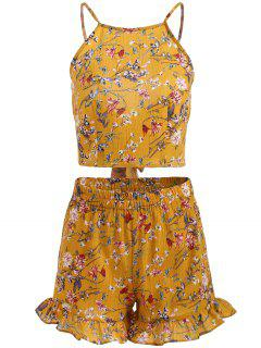Floral Print Cami Crop Top And Shorts Set - Mustard L