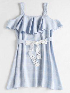 Plaid Cold Shoulder Ruffle Mini Dress - Sea Blue S