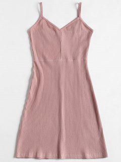 Slip Ribbed Bodycon Mini Vestido - Rosa