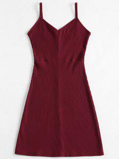 Slip Ribbed Bodycon Mini Dress - Red Wine