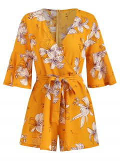Bell Sleeve Surplice Floral Cute Romper - Bee Yellow M