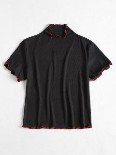 Mock Neck Knit Ribbed Top - Black S
