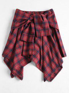 Tied Plaid Asymmetrical Skirt - Cherry Red
