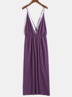 Robe Maxi à Enfiler Et Hautement Fendue - #4e387e L