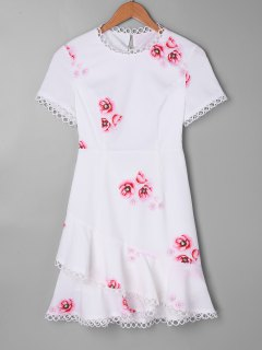 Lace-up Print Mini Flounce Dress - White L