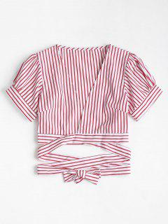 Puff Sleeve Striped Plunge Blouse - Red L