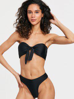 Strapless Bowtie High Cut Bikini - Black S