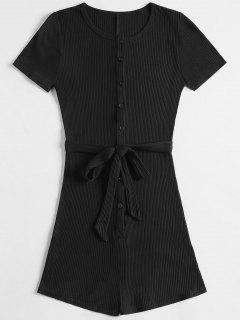 Short Sleeve Ribbed Button Up Romper - Black S