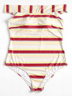 Plus Size Striped One Piece Swimsuit - Red Wine 1x