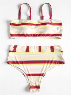 Plus Size Stripe Cami Strap Bikini - Red Wine L