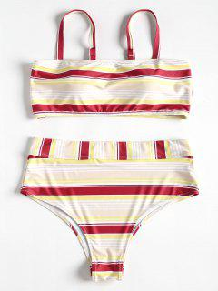 Plus Size Stripe Cami Strap Bikini - Red Wine 1x