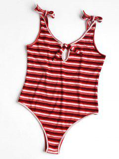 Striped High Cut Bodysuit - Red S