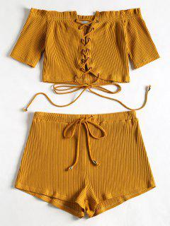 Off Shoulder Lace Up Top And Shorts Set - Ginger L
