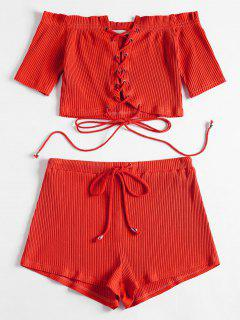Off Shoulder Lace Up Top And Shorts Set - Red M