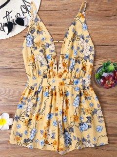 Print Backless Spaghetti Strap Dress - Yellow M