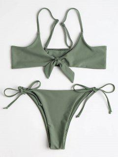 Bralette Knotted Top And String Bikini Bottoms - Army Green M