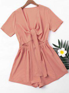 Short Sleeve High Waist Romper - Khaki Rose M