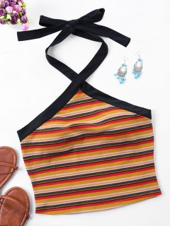 Halter Striped Crop Tank Top - Orange S