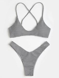 Kreuz Rücken Gestreiftes Hohe Geschnitten Bikini Set - Schwarz L