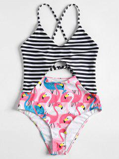 Cutout Backless Flamingo Swimsuit - Light Pink M