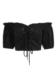 Lace Up Off L'épaule Shirting Crop Top - Noir L