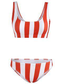 Stripe Tank Bikini Set - Grapefruit Xl