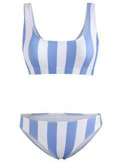 Conjunto De Bikini De Tirantes A Rayas - Azul Pálido S